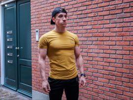 muscle fit shirt dark yellow