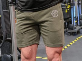 muscle fit short army green